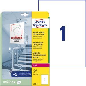Etikety antimikrobiálne 210x297mm Avery A4 biele 10 hárkov
