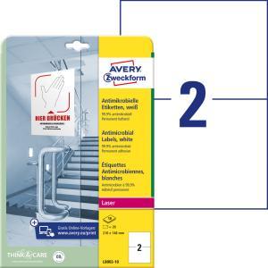 Etikety antimikrobiálne 210x148mm Avery A4 biele 10 hárkov