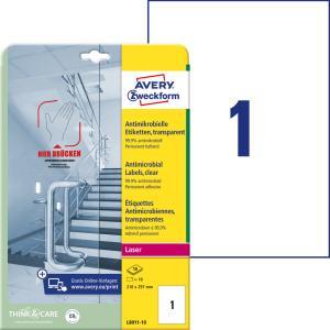 Etikety antimikrobiálne 210x297mm Avery A4 transparentné 10 hárkov
