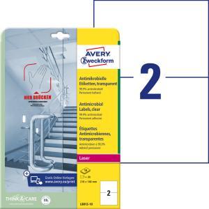 Etikety antimikrobiálne 210x148mm Avery A4 transparentné 10 hárkov
