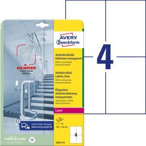 Etikety antimikrobiálne 105x148mm Avery A4 transparentné 10 hárkov