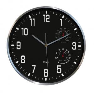 Nástenné hodiny s ukazovateľom vlhkosti 30cm čierne