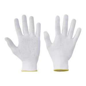 Rukavice bavlnené s PVC terčíkmi BUSTARD EVO, biele, veľ. 10/XL