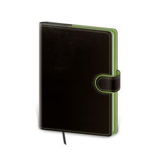 Diár Flip týždenný vreckový 9x14cm - čierno/zelený 2021