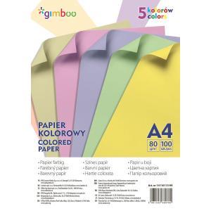 Farebný papier Gimboo A4 100 listov 80g 5 pastelových farieb