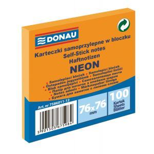 Bloček Donau neónový 76x76mm oranžový