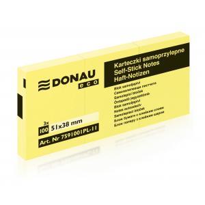 Bloček samolepiaci žltý 38x51mm DONAU ECO /3x100