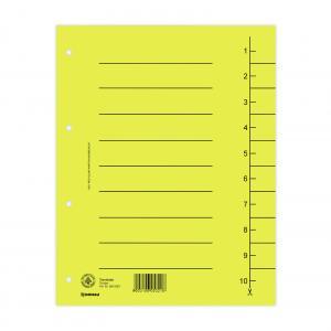 Register papierový A4 1-10 strihací žltý