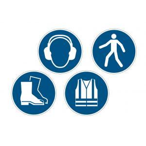 Príkazová značka na podlahu Použi chrániče sluchu