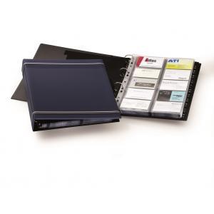 Vizitkár prenosný 4-krúžkový na 400 vizitiek VISIFIX A4 modrý