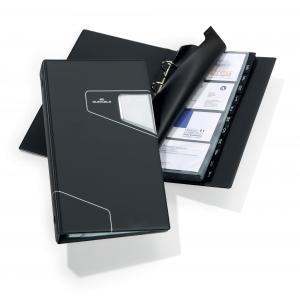 Vizitkár prenosný 4-krúžkový na 200 vizitiek VISIFIX PRO čierny