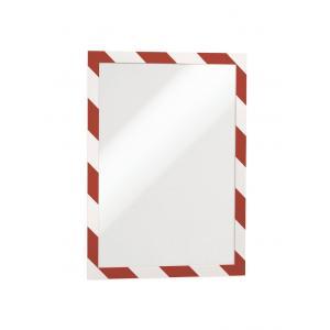 Samolepiaci Duraframe Security A4, červeno-biely, bal.2 ks