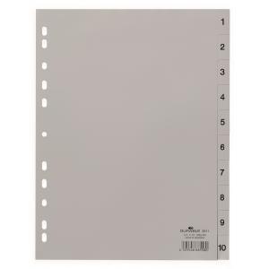 Plastový rozraďovač DURABLE 1-10 sivý