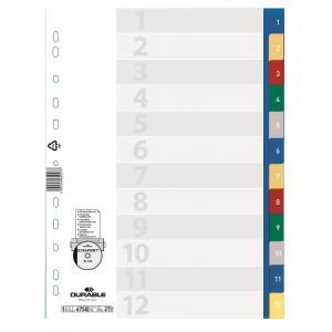 Plastový rozraďovač číselný farebný 1-12