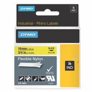 Flexibilná nylonová páska Dymo D1 19mm ž/č