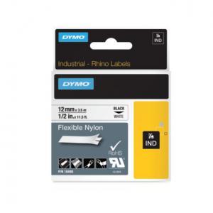 Flexibilná nylonová páska Dymo D1 12mm biela/čierna