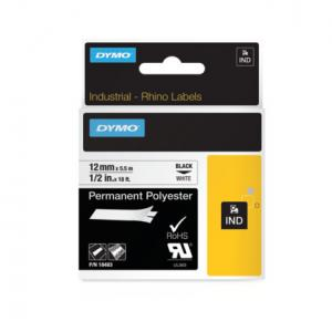 Permanentná polyesterová páska Dymo D1 12mm b/č