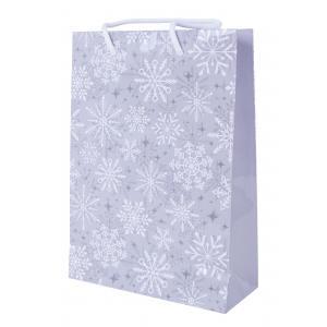 Vianočná laminovaná taška bavlnené ušká 200x80x280mm Strieborné vločky