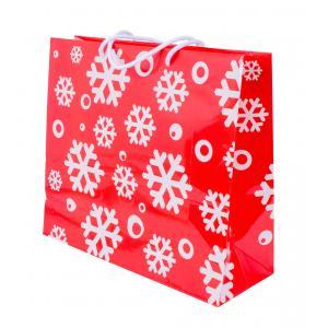 Vianočná laminovaná taška bavlnené ušká 360x120x300mm Snehové vločky
