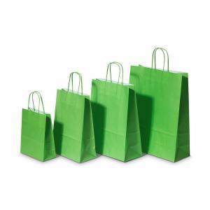Papierová taška, stáčané ušká, 260x120x350mm, zelená