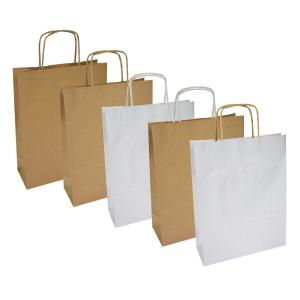 Papierová taška, stáčané ušká, 305x170x445mm, biela široké dno