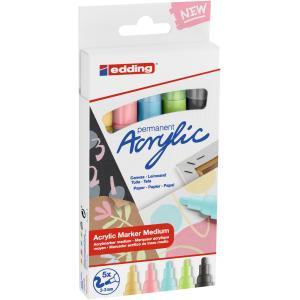 Sada akrylových popisovačov edding 5100  5f pastelové farby
