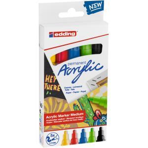 Sada akrylových popisovačov edding 5100 5f základné farby
