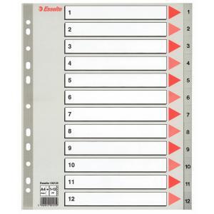 Plastový rozraďovač Esselte 1-12 maxi sivý