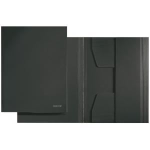 Kartónový obal Leitz s 3 chlopňami bez gumičiek čierny