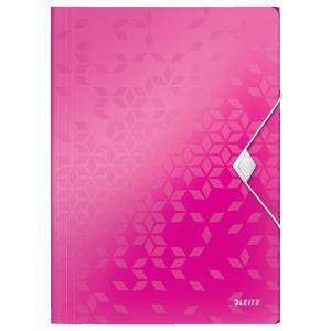 Plastový obal s gumičkou Leitz WOW metalický ružový