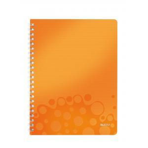 Blok poznámkový štvorčekový Leitz WOW A4 metalický oranžový