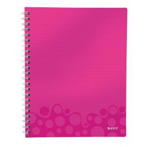 Blok poznámkový linajkový organizačný Leitz WOW A4 metalická ružová