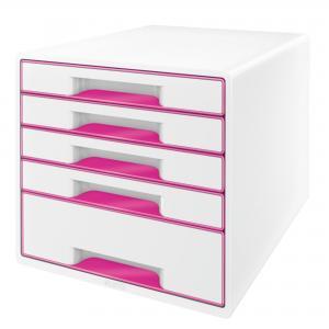 Zásuvkový box Leitz WOW metalický ružový