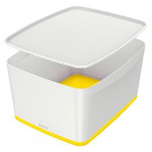 Úložný box s vekom Leitz MyBox, veľkosť L biela/žltá