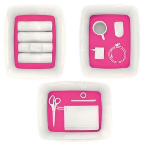Úložný box s vekom Leitz MyBox, veľkosť L biela/ružová