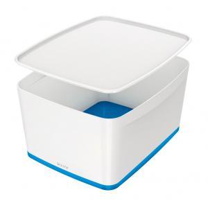 Úložný box s vekom Leitz MyBox, veľkosť L biela/modrá