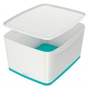 Úložný box s vekom Leitz MyBox, veľkosť L biela/ľadovo modrá
