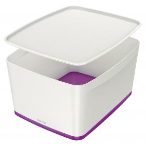 Úložný box s vekom Leitz MyBox, veľkosť L biela/purpurová