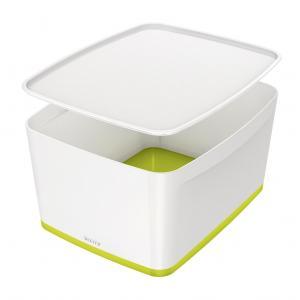 Úložný box s vekom Leitz MyBox, veľkosť L biela/zelená