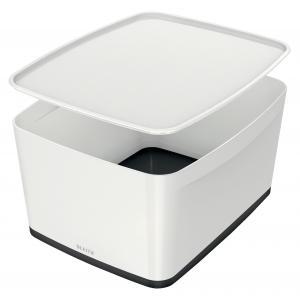 Úložný box s vekom Leitz MyBox, veľkosť L biela/čierna