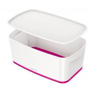 Úložný box s vekom Leitz MyBox, veľkosť S biela/ružová