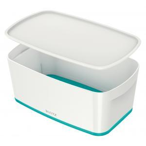 Úložný box s vekom Leitz MyBox, veľkosť S biela/ľadovo modrá