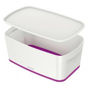 Úložný box s vekom Leitz MyBox, veľkosť S biela/purpurová