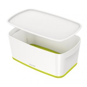 Úložný box s vekom Leitz MyBox, veľkosť S biela/zelená