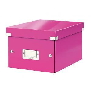 Malá škatuľa Click & Store metalická ružová