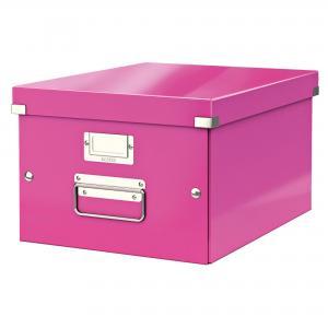 Stredná škatuľa Click & Store ružová