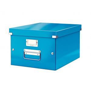 Stredná škatuľa Click & Store metalická modrá