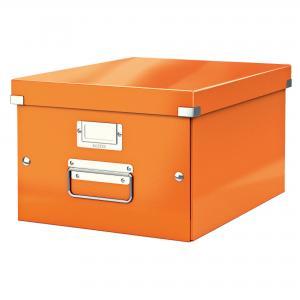 Stredná škatuľa Click & Store metalická oranžová