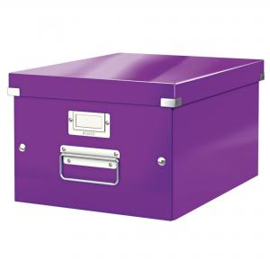 stredná škatuľa Click & Store purpurová