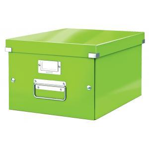 stredná škatuľa Click & Store metalická zelená